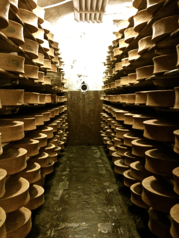 Inside a Beaufort cheese cellar